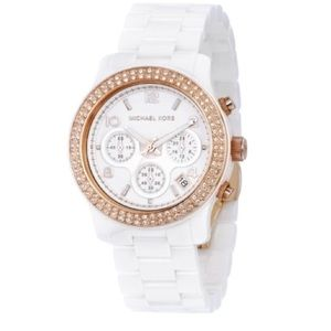 Michael Kors Ceramic White and Rose Gold Watch